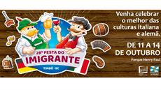 Festa do Imigrante: de 11 a 14/10